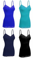 Women's 4 Pack Camisole Adjustable Strap Lace Trim Long Spaghetti Tank Top Small