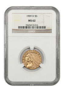 1909-D $5 NGC MS62 - Great Type Coin - Indian Half Eagle - Gold Coin