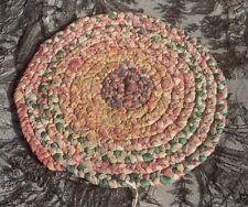 """Unfinished Vintage Antique Hand Handmade Rag Rug Braided 9"""" Round"""
