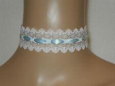 White Lace Choker with Baby Blue Satin Ribbon Wedding Ribbon Tie Fastening