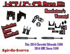 2014+ Chevy Silverado GMC Sierra 1/3 - 2/4 FULLY Adjustable Lowering Kit+ SHOCKS