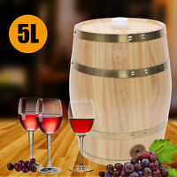 5L Pine Wood Wine Barrel Upright Wine Whiskey Spirits Beer Keg Storage Barrel