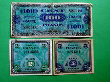 Allied Troops Liberated France Money 3 Notes Set 5 Franc; 2 Franc; 100 Cent 1944