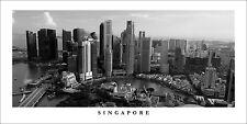 Poster Panorama Singapore Skyline Black and White Marina Bay Panoramic Print