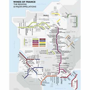 """De Long's Metro Wine Map of France - Wine Regions 18"""" x 24"""""""