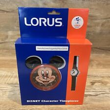 Vintage Disney LORUS  Mickey Mouse Timepiece Quartz Clock & Watch Set NEW in Box