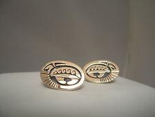 Navajo 14K & Sterling Silver Bear Post Earrings -  Signed