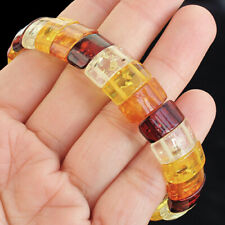 Blood Red Amber Rectangle Man Made Bracelet BRH4-35