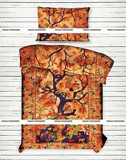Tree Of Life Orange Color Bedding Twin Size Duvet Cover With Pillowcase Indian