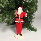 Vtg Christmas Santa putz decoration, cardboard felt chenille Mid Century Modern