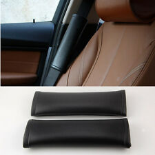2x Universal Interior Leather Seat Belt Shoulder Pads Cover Decoration Car Black