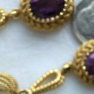 OLD 750 HALLMARK SIGNED 18K YELLOW GOLD ROPE AMETHYST FACETED DANGLE EARRINGS