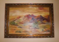 LARGE CALIFORNIA PALM SPRINGS PLEIN AIR IMPRESSIONISM DESERTSCAPE OIL PAINTING