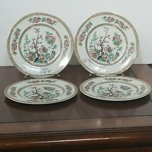 John Maddock & Sons Vintage INDIAN TREE Design Salad Plates Gold Trim Lot of 4