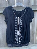 Banana Republic Blue White Floral Tie Tunic Top Blouse Embroidered Large Shirt