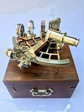 Solid Brass Sextant With Wooden Box Marine Ship Sextant Instrument Working Decor