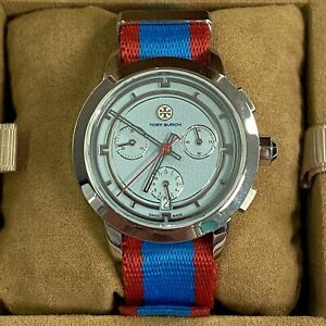 Tory Burch Women's Watch Red Blue Nylon Band Silver Tone TRB1018 with Box