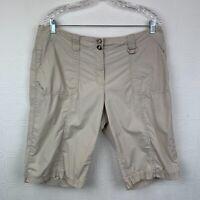 Chicos Bermuda Shorts Large Size 2 Elastic Waist Khaki Tan Pockets Womens A337