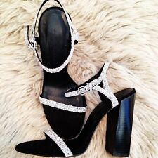 ZARA NEW BLACK LEATHER SILVER BEADS SWAROVSKI HIGH SANDALS HEELS SHOES 37 4 6.5