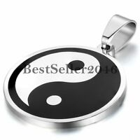 Men's Womens Stainless Steel Tai Chi Yin Yang Charm Lucky Pendant Necklace Chain