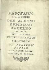 Documento Processo Famiglia Oppizzoni Salerno Albero Genealogico da 1411 al 1784