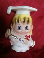 "Vintage Lefton 5010 Graduation 7"" Girl COLLEGE FUND Ceramic Bank w/Stopper Japan"