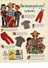 1952 BLUE BELL Children's Clothing pants shirts garden art VTG PRINT AD
