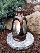 Grablaterne + LED Kerze + Sockel Grablampe Lampe Grableuchte Grablicht Bronze