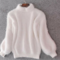 Women Sweater Knit Tops Mohair Lantern Sleeve Jumper Solid Color Slim Pullover