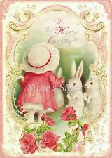 Fabric Block Vintage Easter Postcard Printed onto Fabric Easter Bunnies Pink Hat