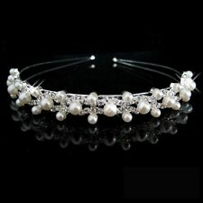 Bridesmaid Flower Girl Rhinestone Crystal&pearl Crown Headband Tiara Wedding
