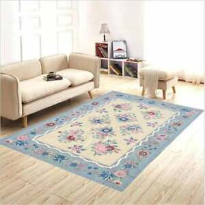 6x4 feet Vintage Aubusson Rug,Needlepoint Wool Rug, Hand Knotted rug,9713