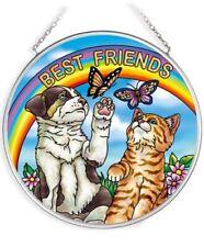 New listing Amia Diversified Painted Glass Medium Circle Shaped Suncatcher Cat & Dog