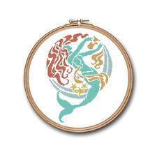 Mermaid Tail Fish Beach Art Imagine Counted Cross Stitch Pattern