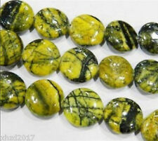 "HOT!NEW 14mm Turkey yellow turquoise round cake Coin loose beads 15"" Strand"