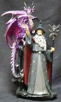 "GREY  Wizard    Dragon  Staff with Headpiece    Statue  Figurine  H11"""