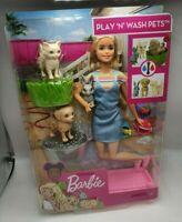 Mattel Barbie Badespaß Spielset Tiere und Puppe (blond) mit 2 Haustieren [NEU]