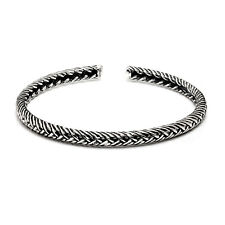 Solido 925 Argento Sterling VINTAGE Twisted FUNE Coppia Polsino Bracciale Bangle