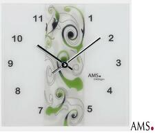 AMS 39 Wall Clock Quartz Design in Green on Matted Glass Design Watch New 069