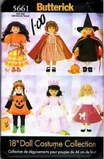 """18"""" Doll Costume Collection Sewing PATTERN pumpkin, gypsy, witch BUTTERICK 5661"""