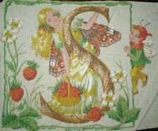 Vintage FAIRY Alphabet Letter 'S' Fabric Panel (17cm x 13cm)