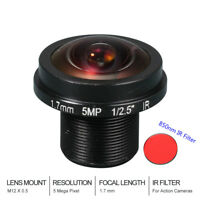 HD Fisheye CCTV Lens 5MP 1.7MM M12*0.5 Mount 1/2.5 F2.0  for IP Security Cameras
