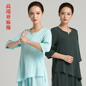 Women Tai chi Robe Training Clothes Uniform Kung fu Martial arts Wing Chun Suit
