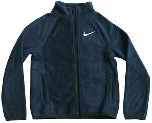 Nike Little Boy Size 6 or 7 Navy Blue Full Zip Fleece Jacket Obsidian 86F654-695