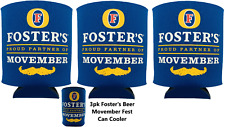 3pk Foster's Beer Movember Coozie 25.4 Oil Can Insulated Drink Holder Mug Sleeve