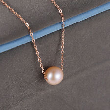 NEW Pure 18K Rose Gold O Link Chain with 5-6mm Pearl Bead Necklace 45cm