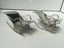 ANTIQUE REAL SILVER ROCKING CHAIRS  DOLLS HOUSE DOLLHOUSE