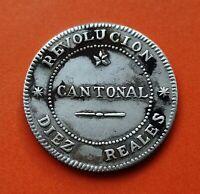 @COPIA / REPRODUCCION PLATA@ 10 REALES 1873 REVOLUCION CANTONAL CARTAGENA España