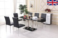 Luxury Black High Gloss Dining Table 6 Black Chairs