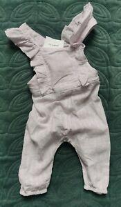 Zara LILAC Romper Jumpsuit 3-6 Mths Baby Girl purple dungaree strap sleeve linen